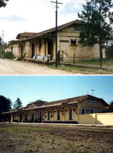Antes e depois da estação de Anhumas, restaurada pela ABPF