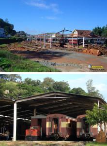 Antes e depois da construção da oficina e depósito de São Lourenço pela ABPF