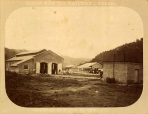 Depósito, caixa d'água e estação de Passa Quatro em 1884 - Marc Ferrez